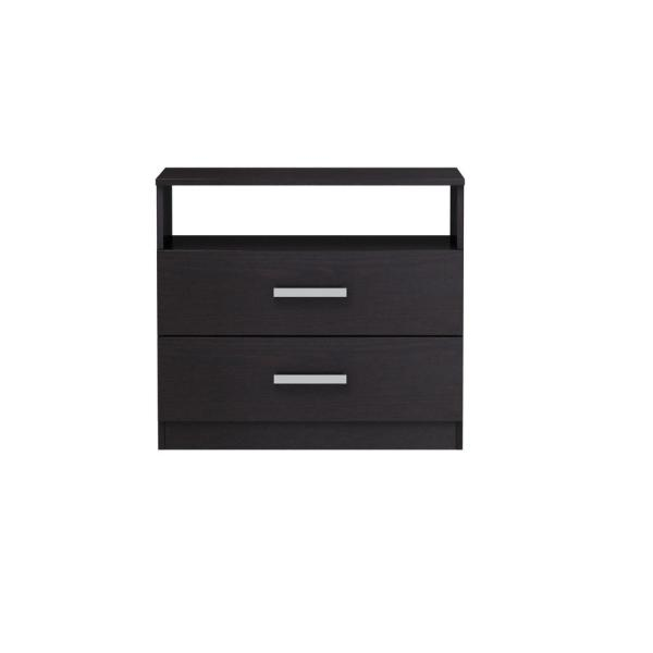 Homestar Alexander 2-Drawer Black-Brown Nightstand