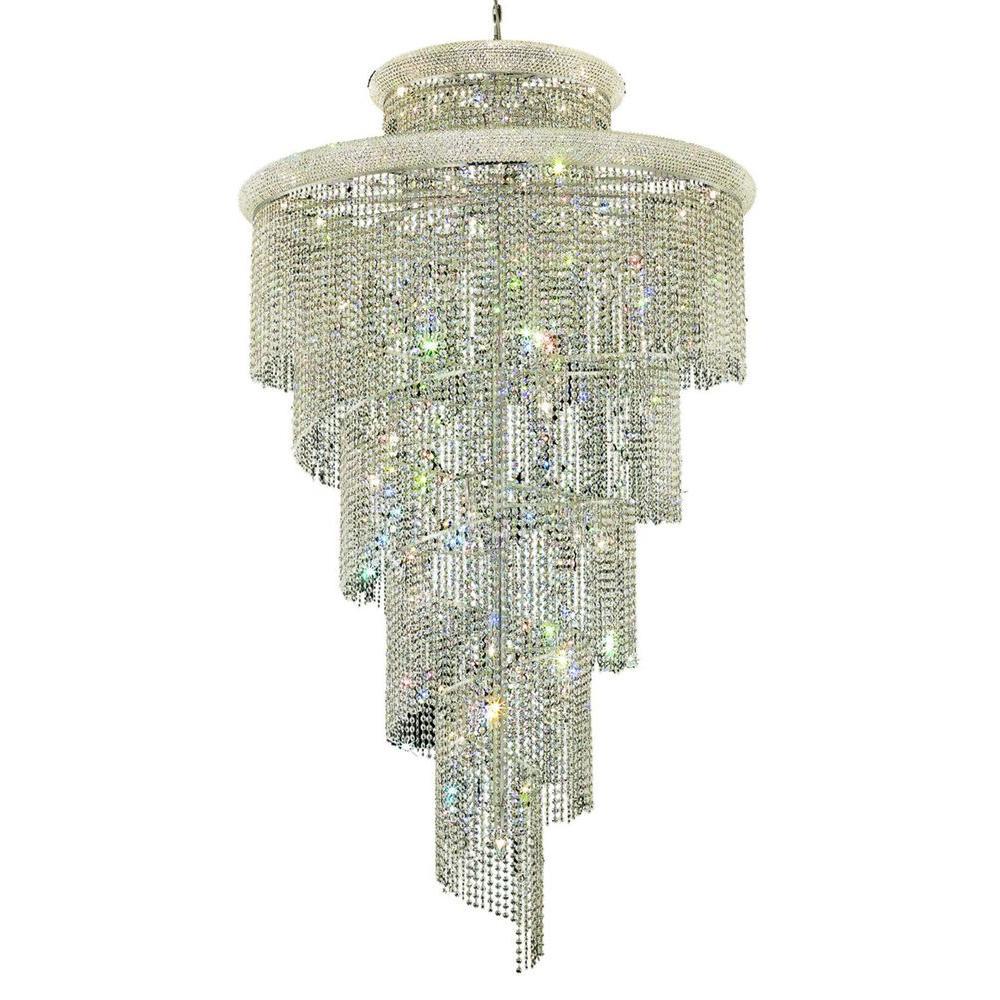 Elegant Lighting 41-Light Chrome Chandelier with Clear Crystal