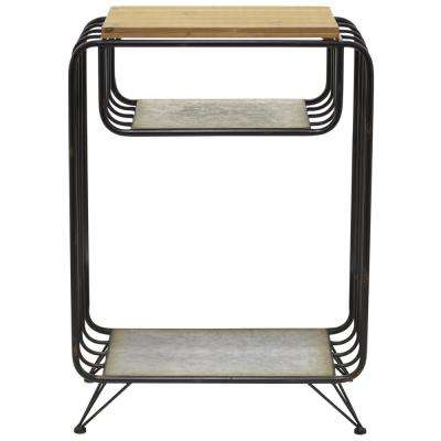 28 in. Gray Metal Side Table