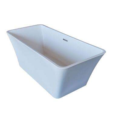 PureCut 5.6 ft. Acrylic Center Drain Rectangular Bathtub in White
