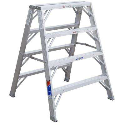 4 ft. Aluminum Extra-Wide Work Stand Step Ladder with 300 lb. Load Capacity Type IA Duty Rating
