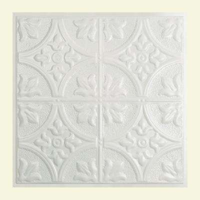 Jamestown 2 ft. x 2 ft. Lay-in Tin Ceiling Tile in Matte White