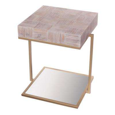 22.75 in. Brown Wood Mirrored Table
