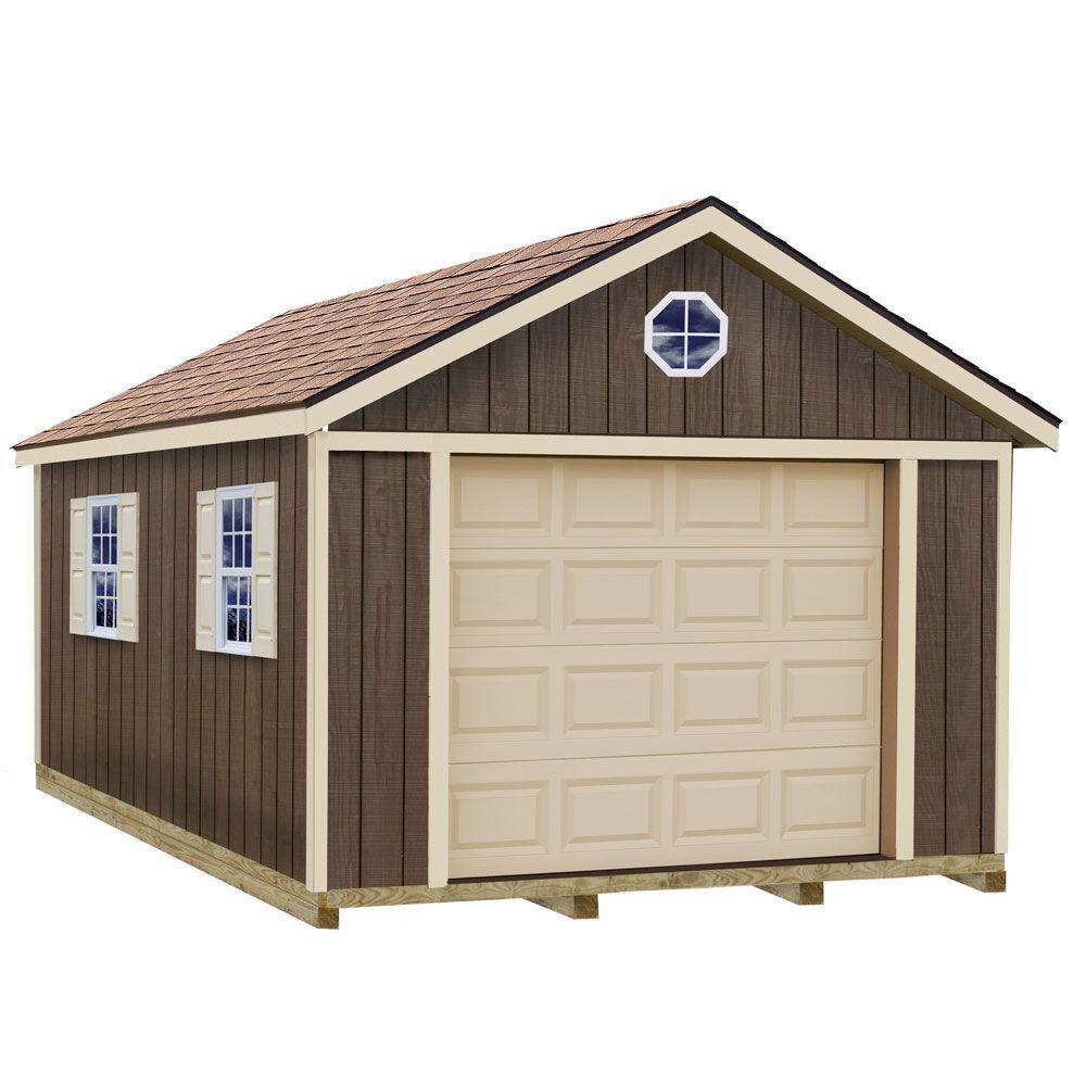 Sierra 12 ft. x 24 ft. Wood Garage Kit with Sturdy Built Floor