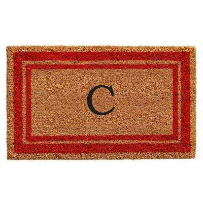 Red Border Monogram Door Mat 18 in. x 30 in. (Letter C)