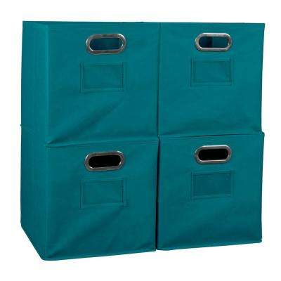 Cubo 12 in. x 12 in. Teal Foldable Fabric Bin (4-Pack)