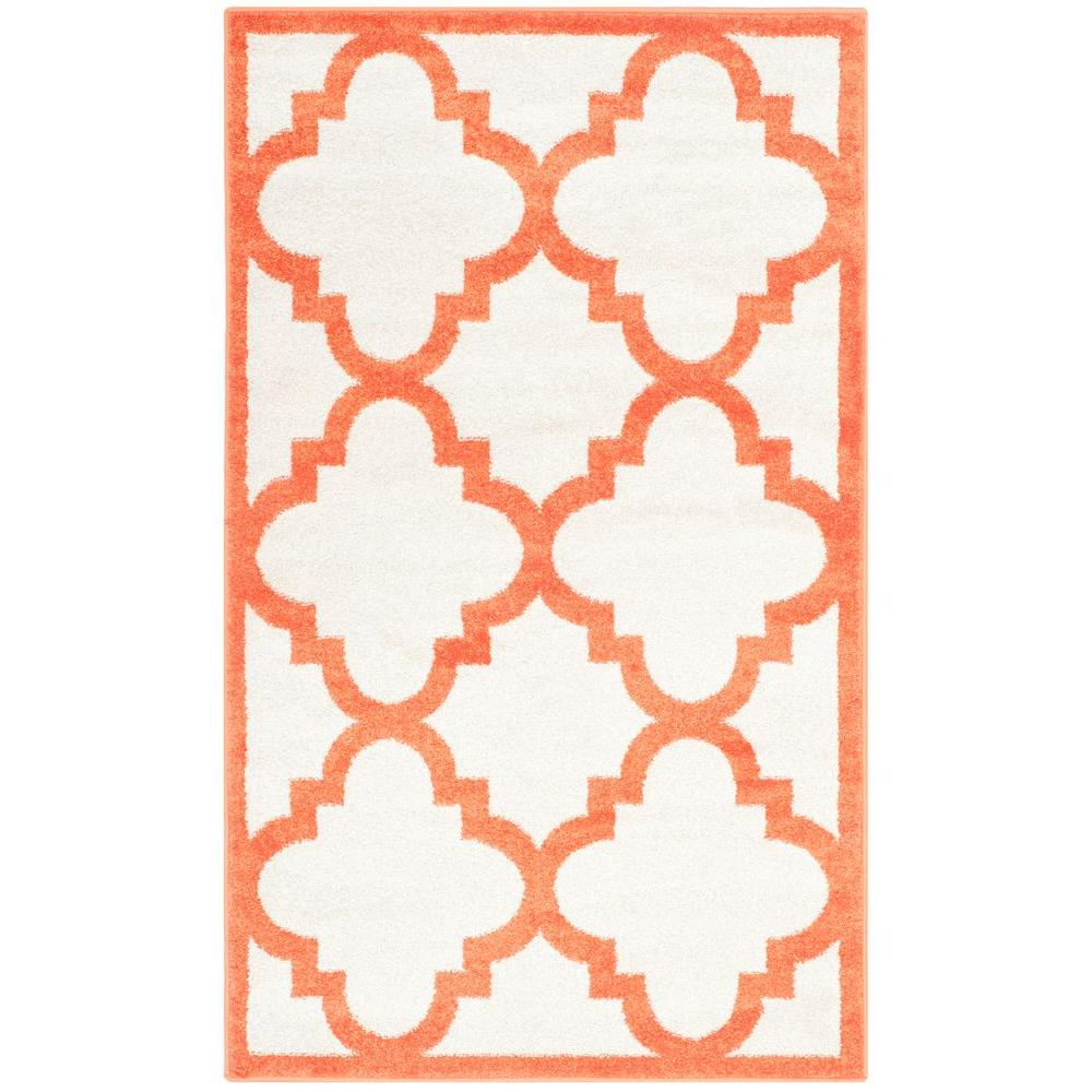 Amherst Beige/Orange 3 ft. x 5 ft. Indoor/Outdoor Area Rug