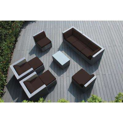 Gray 10-Piece Wicker Patio Seating Set with Spuncrylic Brown Cushions