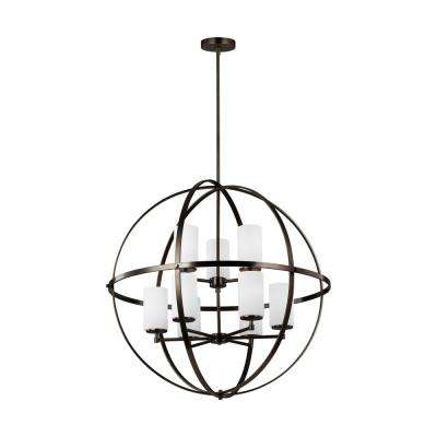 Alturas 32.5 in. W 9-Light Brushed Oil Rubbed Bronze Multi-Tier Orb Chandelier with Glass Shades