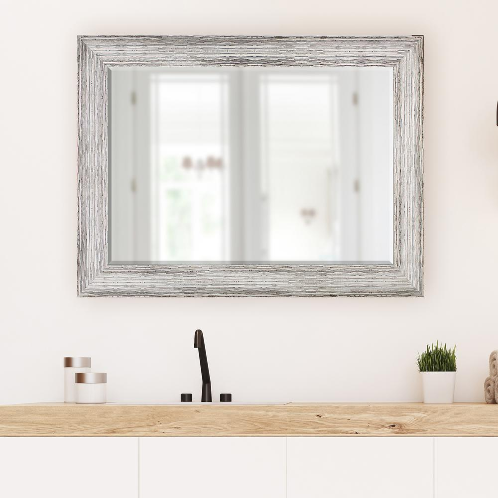 31.5 in x 43.5 in. Brown and Antique White Decorative Mirror-15564 ...
