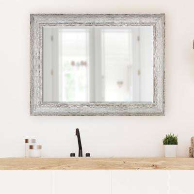 31.5 in x 43.5 in. Brown and Antique White Decorative Mirror