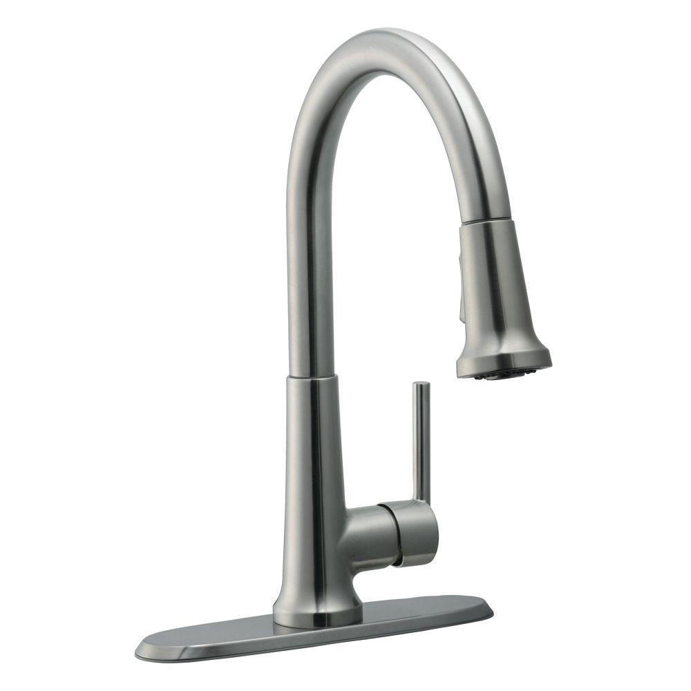 Geneva Single-Handle Pull-Down Sprayer Kitchen Faucet in Satin Nickel