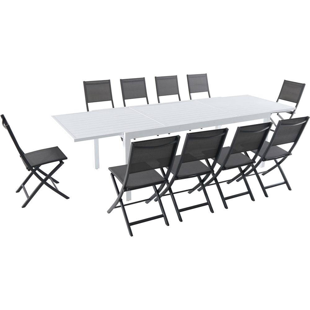 Stupendous Hanover Del Mar 11 Piece Aluminum Outdoor Dining Set With 10 Folding Chairs In Gray And A White Expandable Dining Table Machost Co Dining Chair Design Ideas Machostcouk