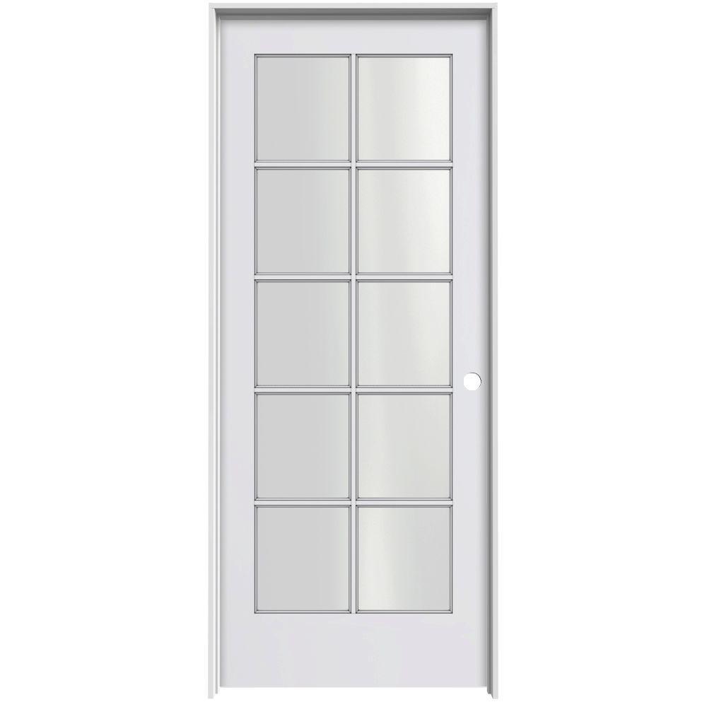 JELD-WEN Smooth 10-Lite Primed Pine Prehung Interior Door with Primed Jamb-DISCONTINUED