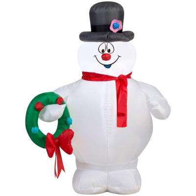 31.50 in. W x 23.23 in. D x 42.13 in. H Lighted Inflatable Frosty Holding Wreath