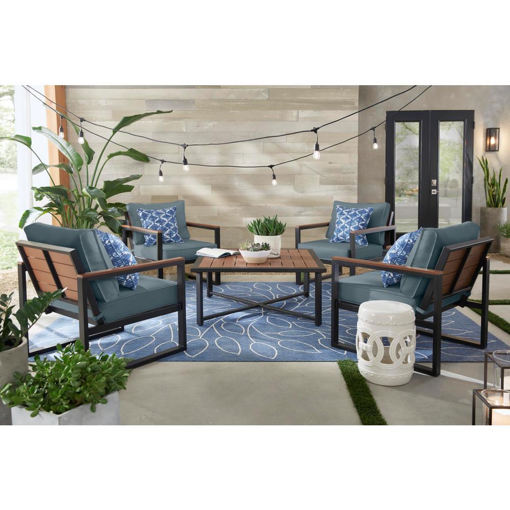 West Park Black Aluminum Outdoor Patio Lounge Chair with Sunbrella Denim Blue Cushions (2-Pack)