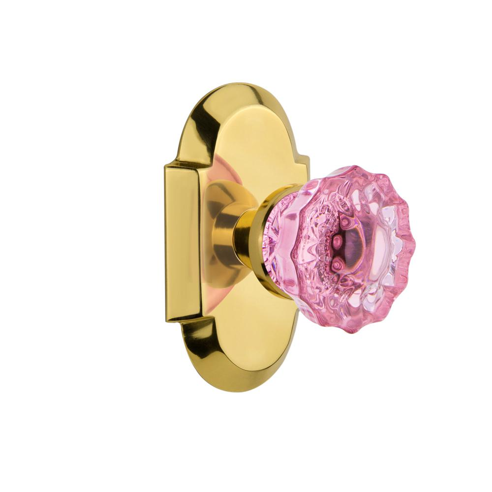 Nostalgic Warehouse Cottage Plate Single Dummy Crystal Pink Glass Door Knob  In Polished Brass