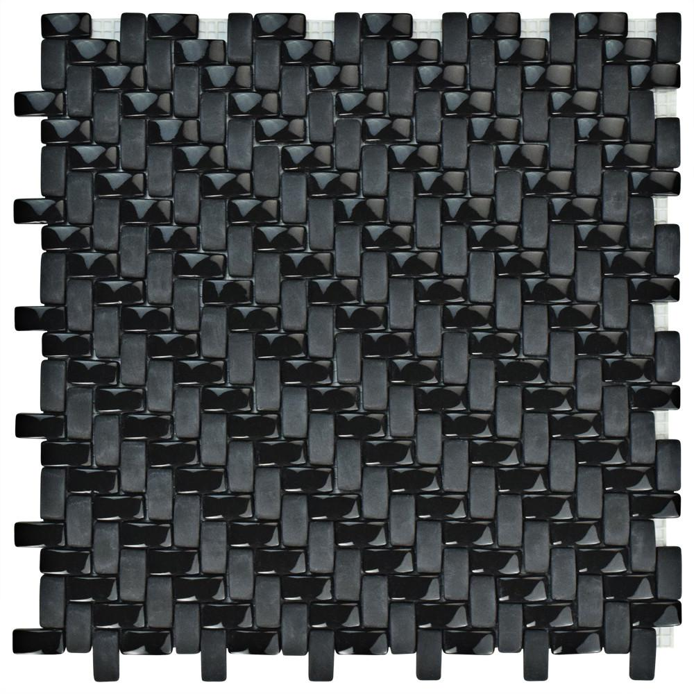 Merola Tile Expressions Weave Black 12-1/4 in. x 12-1/4 in. x 7 mm Glass Mosaic Tile