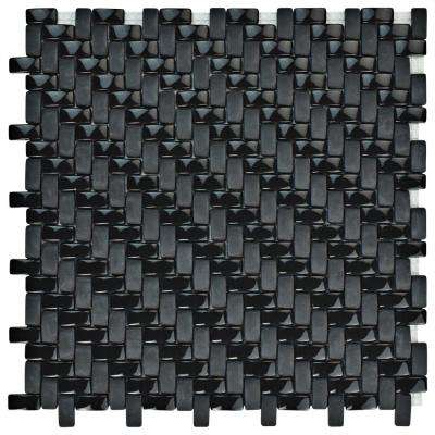 Expressions Weave Black 12-1/4 in. x 12-1/4 in. x 7 mm Glass Mosaic Tile
