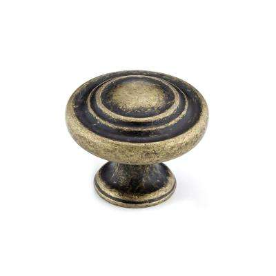 Traditional 1-3/8 in. Burnished Brass Cabinet Knob
