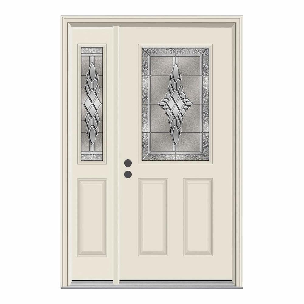 JELD-WEN 50 in. x 80 in. 1/2 Lite Hadley Primed Steel Prehung Right-Hand Inswing Front Door with Left-Hand Sidelite