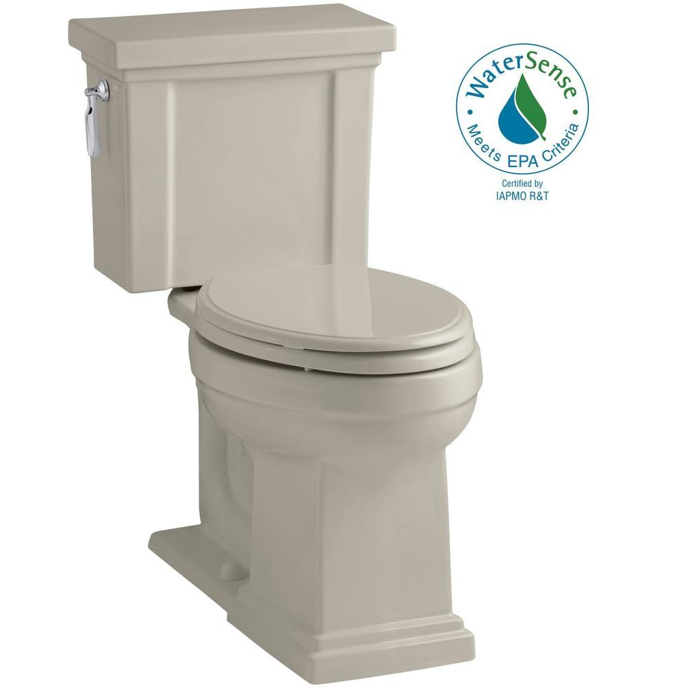 KOHLER Tresham 2-piece 1.28 GPF Elongated Toilet with AquaPiston Flush Technology in Sandbar