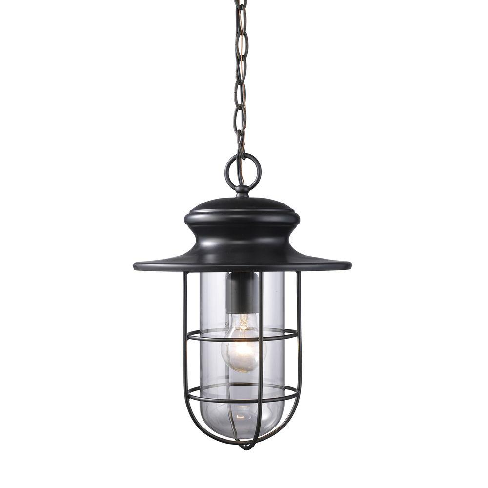 Portside 1-Light Matte Black Outdoor Hanging Pendant