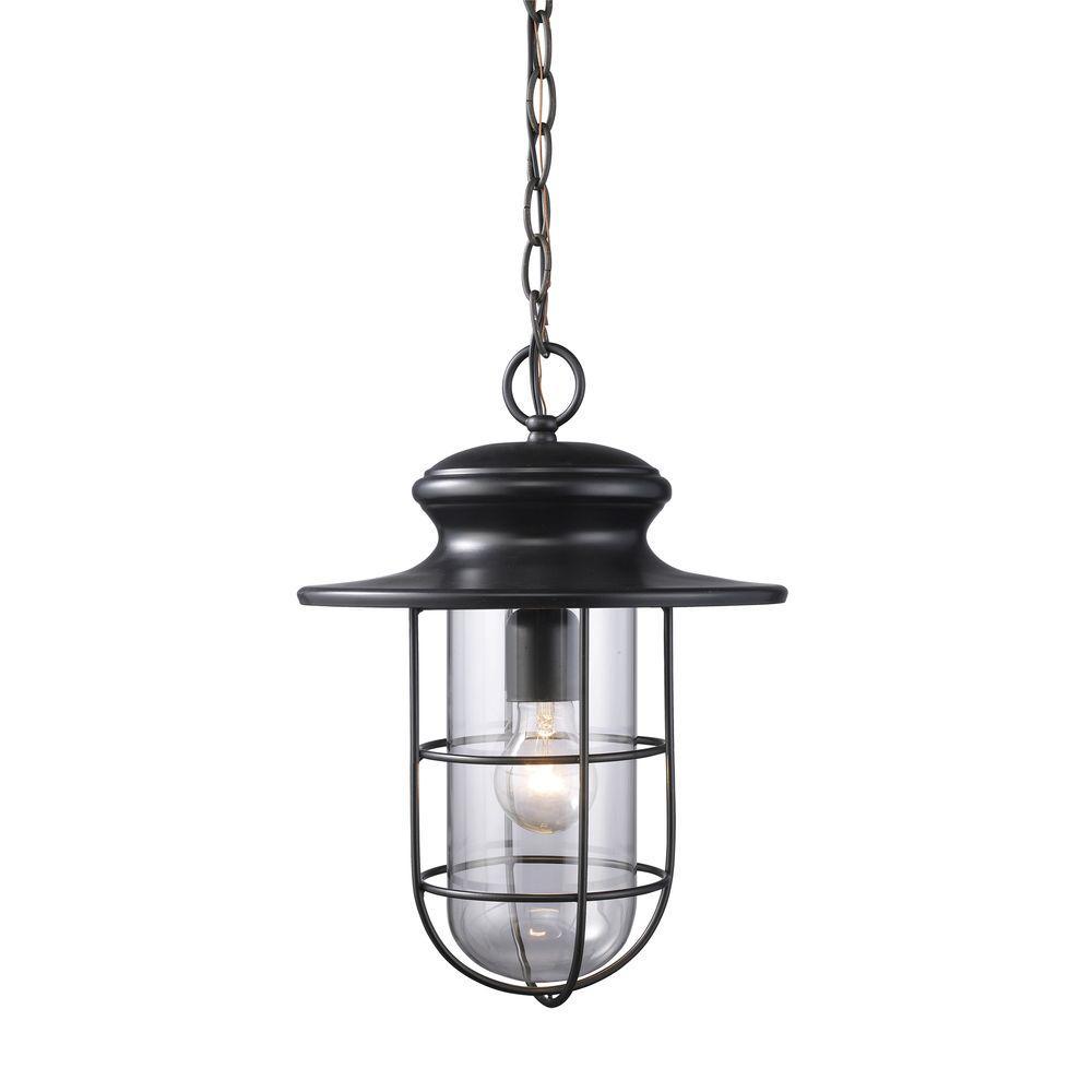 Portside 1-Light Matte Black Outdoor Hanging Pendant