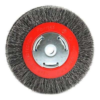 6 in. x 1/2 in. and 5/8 in. Arbor Wide Face Coarse Crimped Wire Bench Wheel Brush