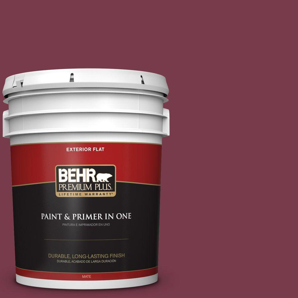 BEHR Premium Plus 5-gal. #BIC-51 July Ruby Flat Exterior Paint