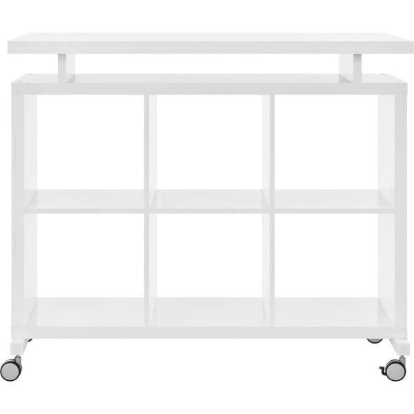 Ameriwood Pinnacle White Standing Desk with Shelves