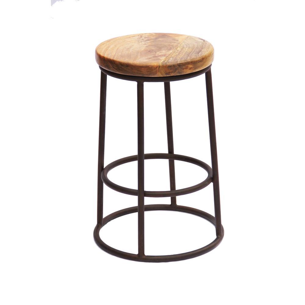 24 in. Natural Wood Brown Chic Circular Top Jaden Counter Stool