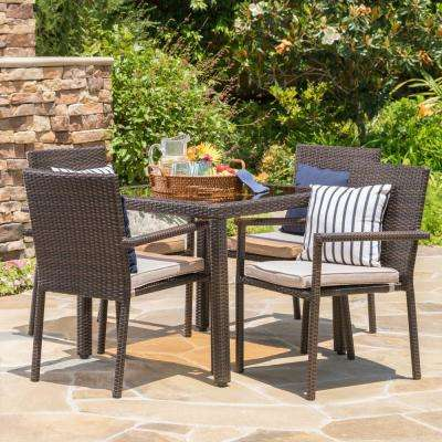 Multi-Brown 5-Piece Wicker Square Outdoor Dining Set with Textured Beige Cushion