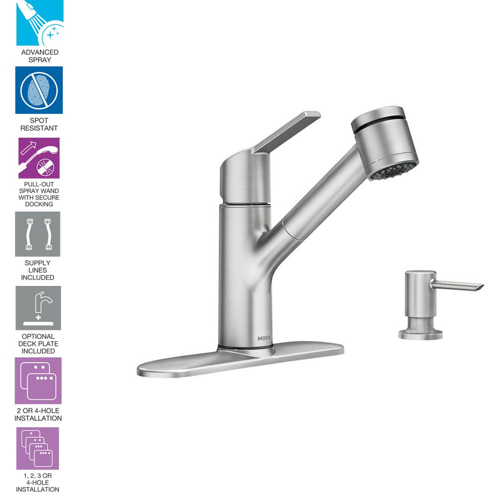 How To Install Moen 2 Handle Kitchen Faucet Marvelous Interior Faucets Parts 100119 Monticello Pictures Sombra Single Pull Out Sprayer With Power Rh Homedepot Com