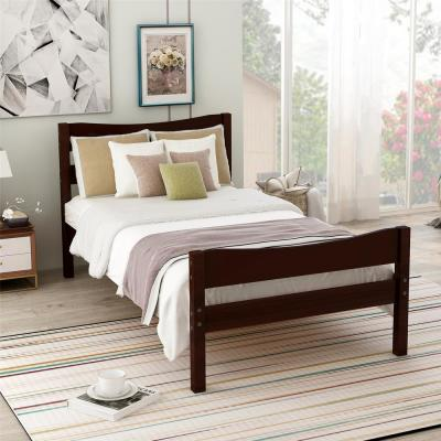 Espresso Wood Platform Twin Bed with Headboard and Wooden Slat Support