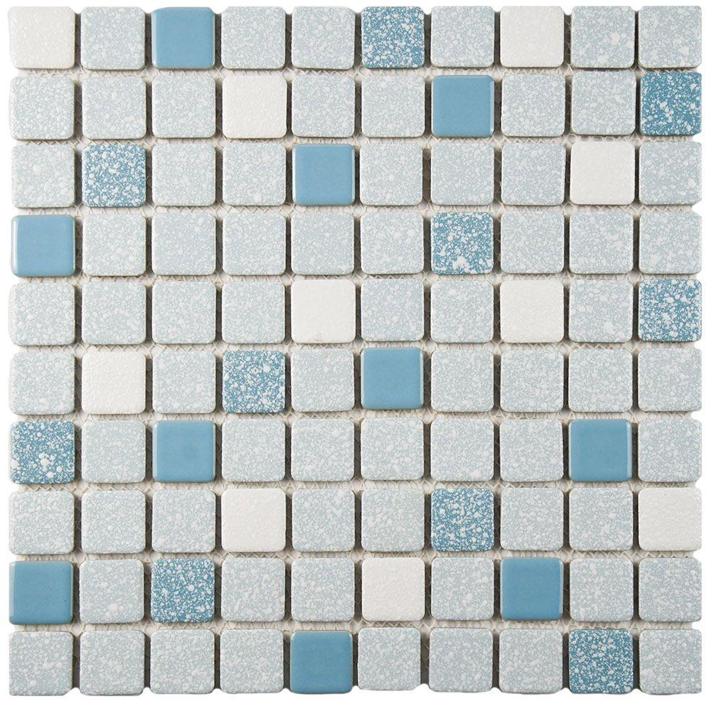 Merola Tile Crystalline Square Blue 11 3 4 In X 11 3 4 In X 5 Mm Porcelain Mosaic Tile