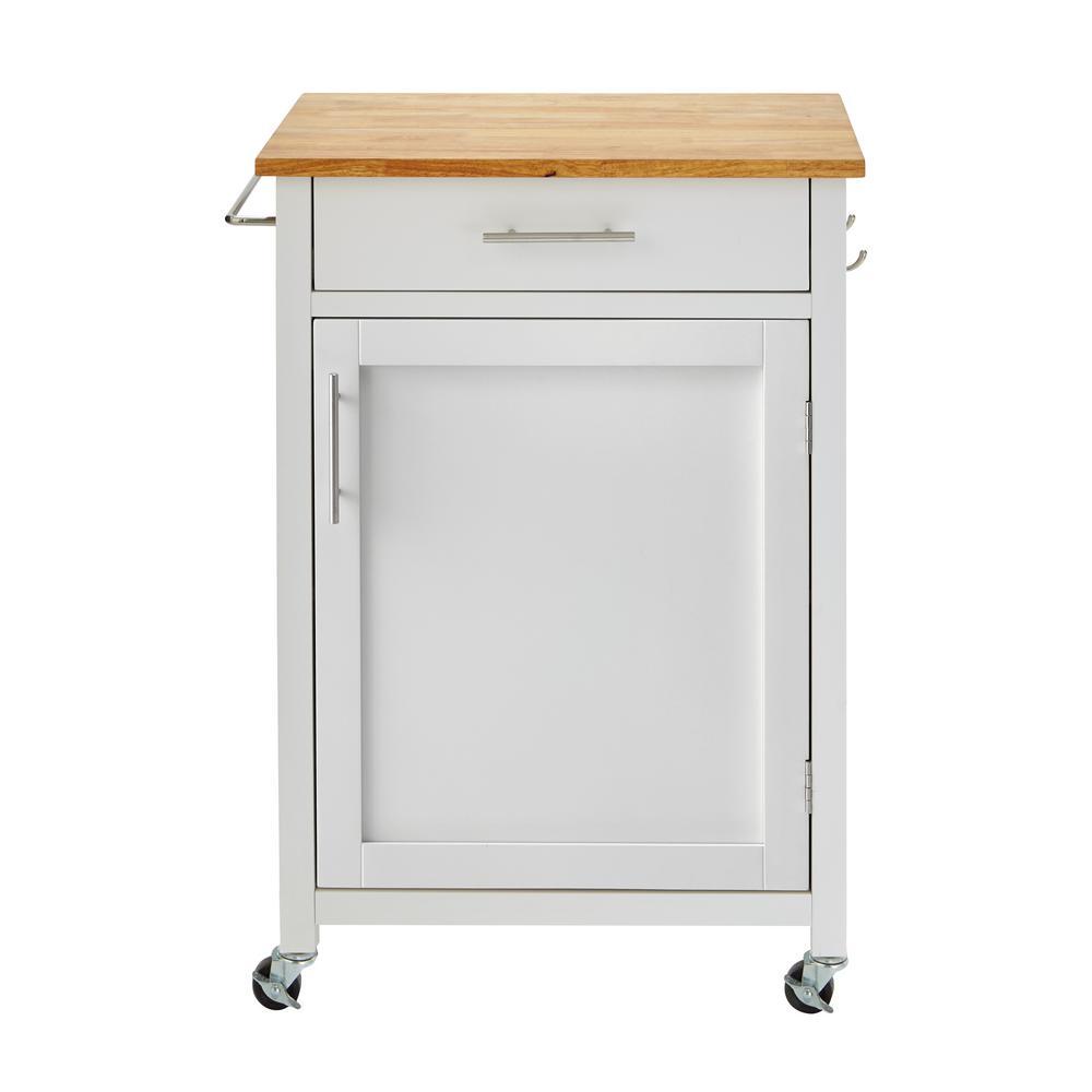 Glenville White Kitchen Cart with 1 Drawer