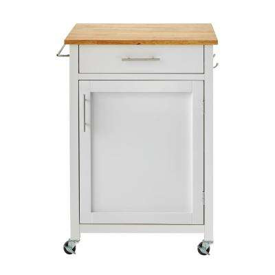 Glenville White Kitchen Cart with 1 Drawer