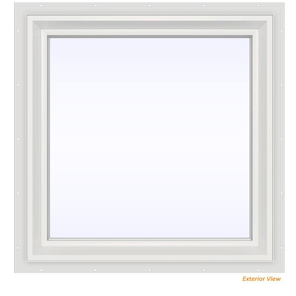 23.5 in. x 23.5 in. V-2500 Series White Vinyl Picture Window w/ Low-E 366 Glass