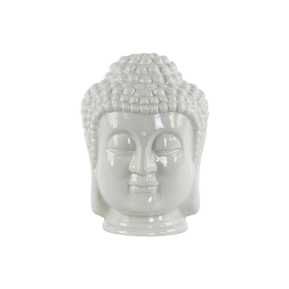 11 in. H Buddha Decorative Sculpture in Gray Gloss Finish