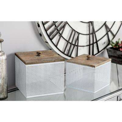 White Iron Mesh Square Canisters with Wooden Lid (Set of 2)