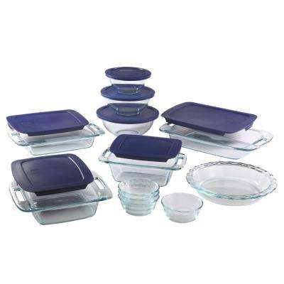 Easy Grab 19-Piece Glass Bakeware and Storage Set with Blue Lids