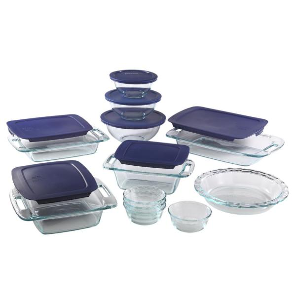Pyrex Easy Grab 19 Piece Glass Bakeware And Storage Set With Blue Lids 1093838 The Home Depot