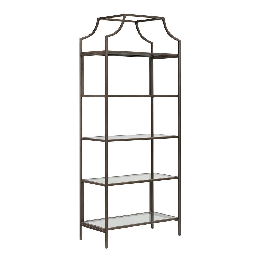 70.86 in. Bronze Metal 5-Shelf Accent Bookcase