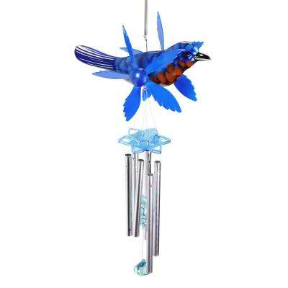 Blue Bird Spinning Wings Metal Wind Chimes