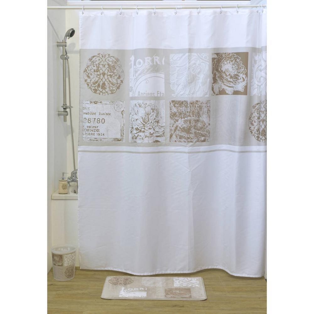 Paris Romance Polyester Fabric Shower Curtain Multicolored