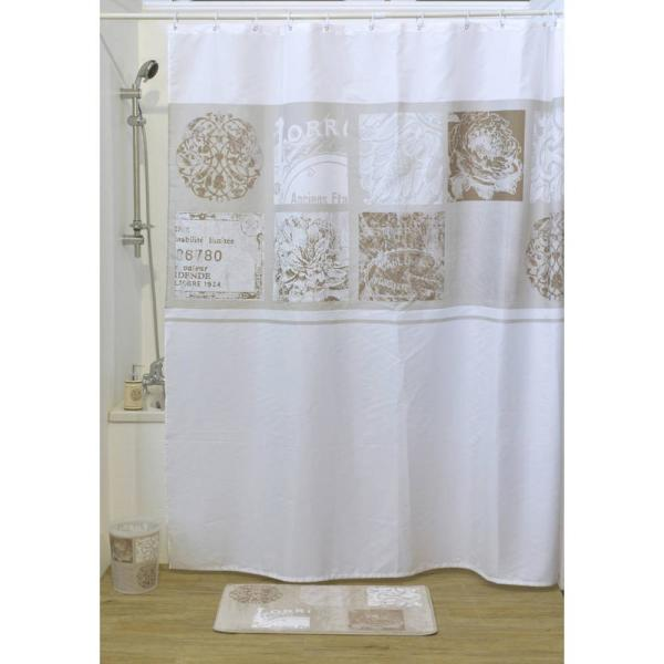 Paris Romance Polyester Fabric Shower Curtain Multicolored 12001385