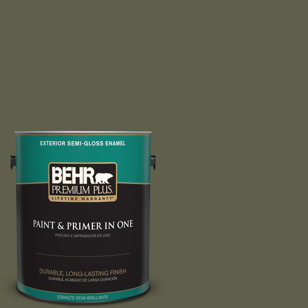 1 gal. #MQ6-58 Fig Tree Semi-Gloss Enamel Exterior Paint and Primer