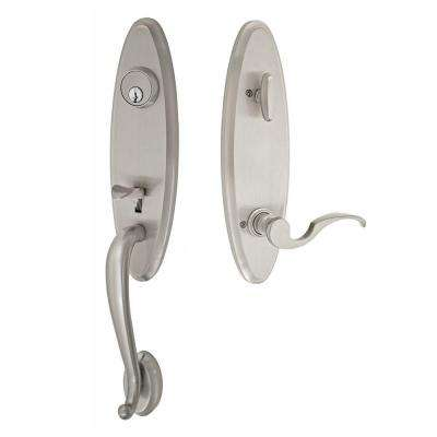 Brushed Nickel Westbrook Interconnect Interior Handle Set with Drop Tail Left Handed Lever