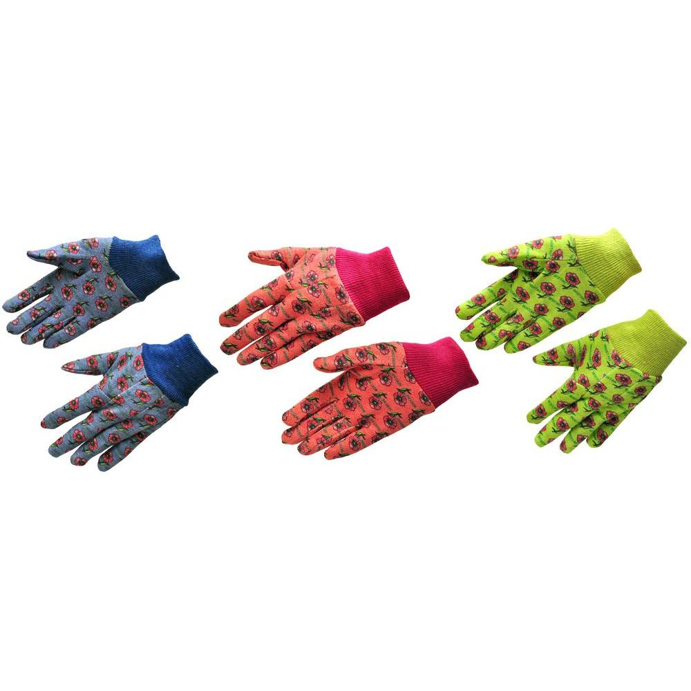 G & F Products Soft Jersey Kids Green/Red/Blue Gloves (3-Pair)
